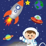 kids personalised astronaut space canvas wall art