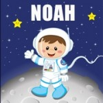 Personalised astronaut space kids canvas art set
