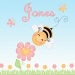 Kids personalised bee canvas wall art