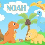 kids personalised dinosaur canvas wall art