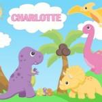 Personalised kids dinosaur canvas wall art
