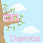 Kids personalised owl canvas wall art