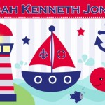 Kids personalised nautical boats canvas wall art
