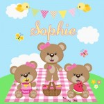 kids personalised picnic bears canvas wall art