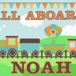 Kids personalised train canvas wall art