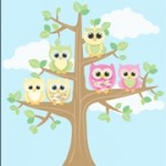 Personalised girls owl kids canvas wall art