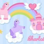 Kids personalised unicorn canvas wall art