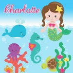 Kids personalised mermaid canvas wall art