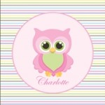 Personalised girls owl canvas wall art set