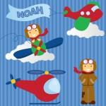 Kids personalised aeroplane canvas wall art