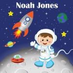 Kids personalised asrtonaut space canvas wall art